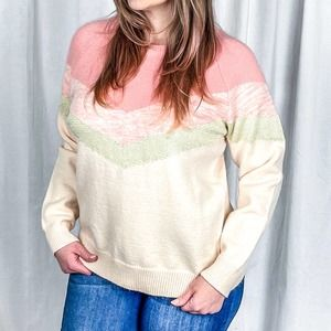 NWT Pink Chevron Bliss Sweater Size Large